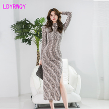 2019 Korean version of the autumn exquisite curve side slit python pattern slim dress