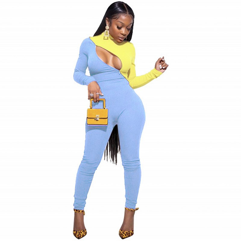 2020 New Spring High Quality Jumpsuit Women Fashion Sexy Skinny Jumpsuit Female Long Sleeve Clubwear Playsuit Party Clothing