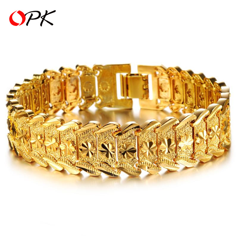 VOHE Luxury Gold Color Stainless Steel Bracelet Wristband Men Jewelry Bracelets Bangles Gift for Him