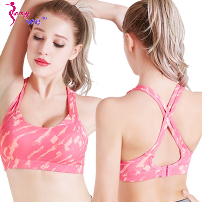 SEXYWG Push Up Bra Spor Top Cross Strap Camouflage Gym Shirt For Women Athletic Vest Running Yoga Bras Wireless Sleep Brassiere