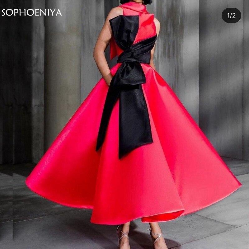 ¡Novedad! Vestido de noche corto de cuello alto 2020 en rojo y negro, vestidos de noche avondjurk, Vestidos de Noche de dubai|Vestidos de noche|   - AliExpress
