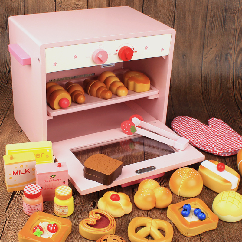 Children Kids Cute Pink Wooden Pretend Game Suit Pretend Toaster Machine Game Christmas Gift Kitchen Pretend Toy Educational Toy