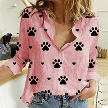 Summer Fashion Woman Blouses Spring Long-Sleeved Lapel Kawaii Dog Print Button Top Women