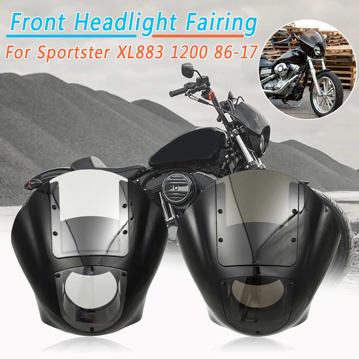 Clear/SmokeMotorcycle Headlight Headlamp Full Fairing Kits Windscreen Windshield Cover For Sportster XL883 1200 1986-2017