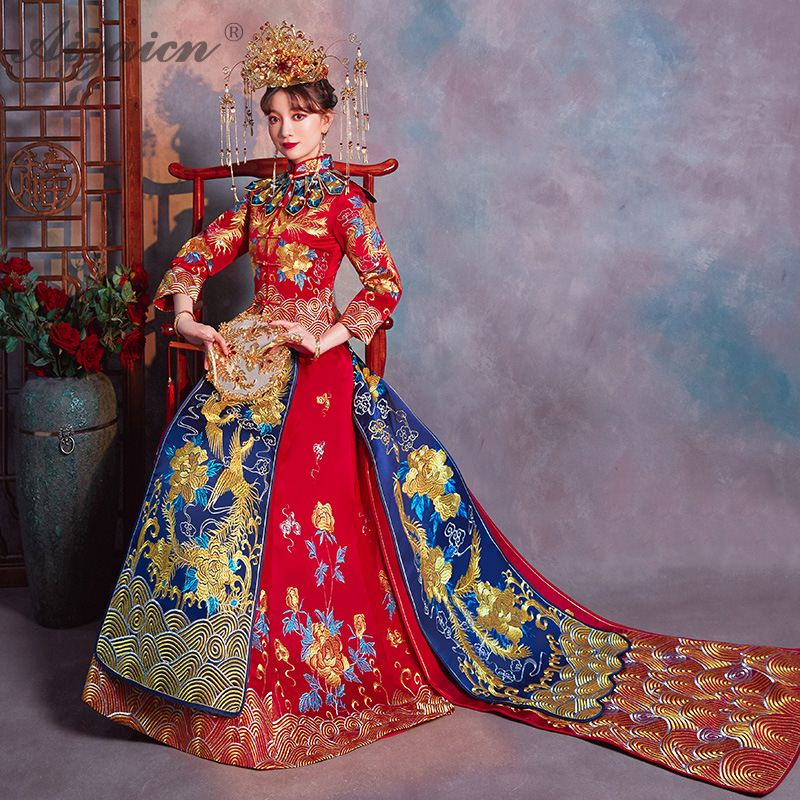 Oriental Style Embroidery Cheongsam Red Bride Marry Gown Qi Pao Traditional Chinese Wedding Dress Qipao Promotion Tailing Robe