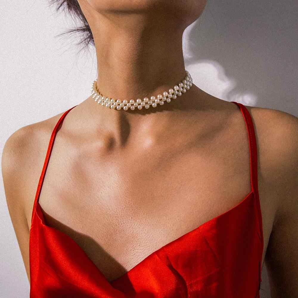 KMVEXO Bohemian Multi Layer Simulated Round Pearl Choker Necklace Collar Statement Clavicle Chain Necklace Women Wedding Jewelry