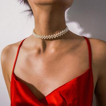 KMVEXO Bohemian Multi Layer Simulated Round Pearl Choker Necklace Collar Statement Clavicle Chain Necklace Women Wedding Jewelry retro women s exaggeration mixing crystal ball necklace pearl turquoises short clavicle chain statement choker necklace jewelry