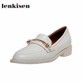 Lenkisen 2020 new spring summer natural leather round toe med square heels metal fasteners pearl British school style pumps L2f1