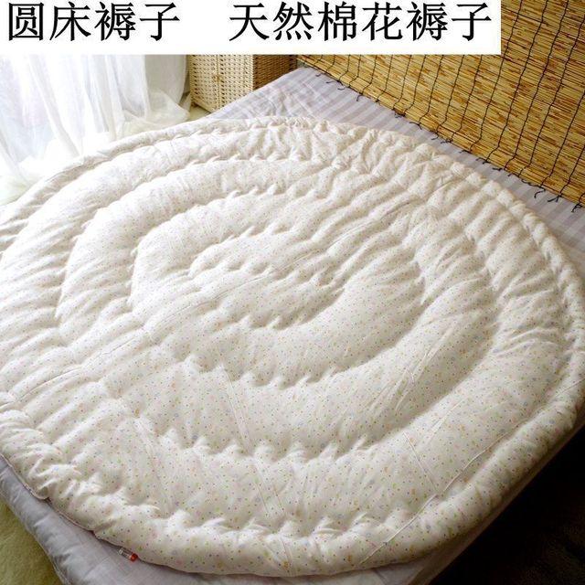 Ultra-miękkie okrągłe materace ręczne pikowane Xinjiang długie pluszowe wypełnienie z bawełny gruby podkład na materac z zamknięciem na zamek błyskawiczny tanie i dobre opinie Pikowana HANDMADE COTTON Cztery pory roku
