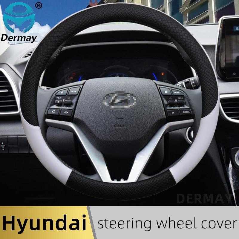 100% DERMAY брендовый кожаный чехол рулевого колеса автомобиля Противоскользящий для Hyundai i30 kona i10 i35 elantra santa fe автомобильные аксессуары