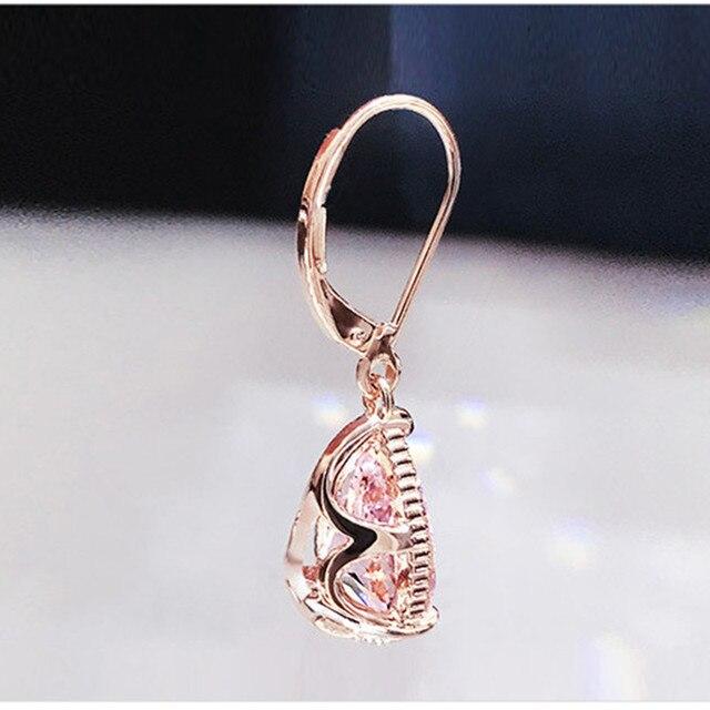 S925 Silver Drop Earrings For Women Water Drop Pink Cubic Zirconia Wedding Engagement Bridal Jewelry Dangle Earring CCE624 5