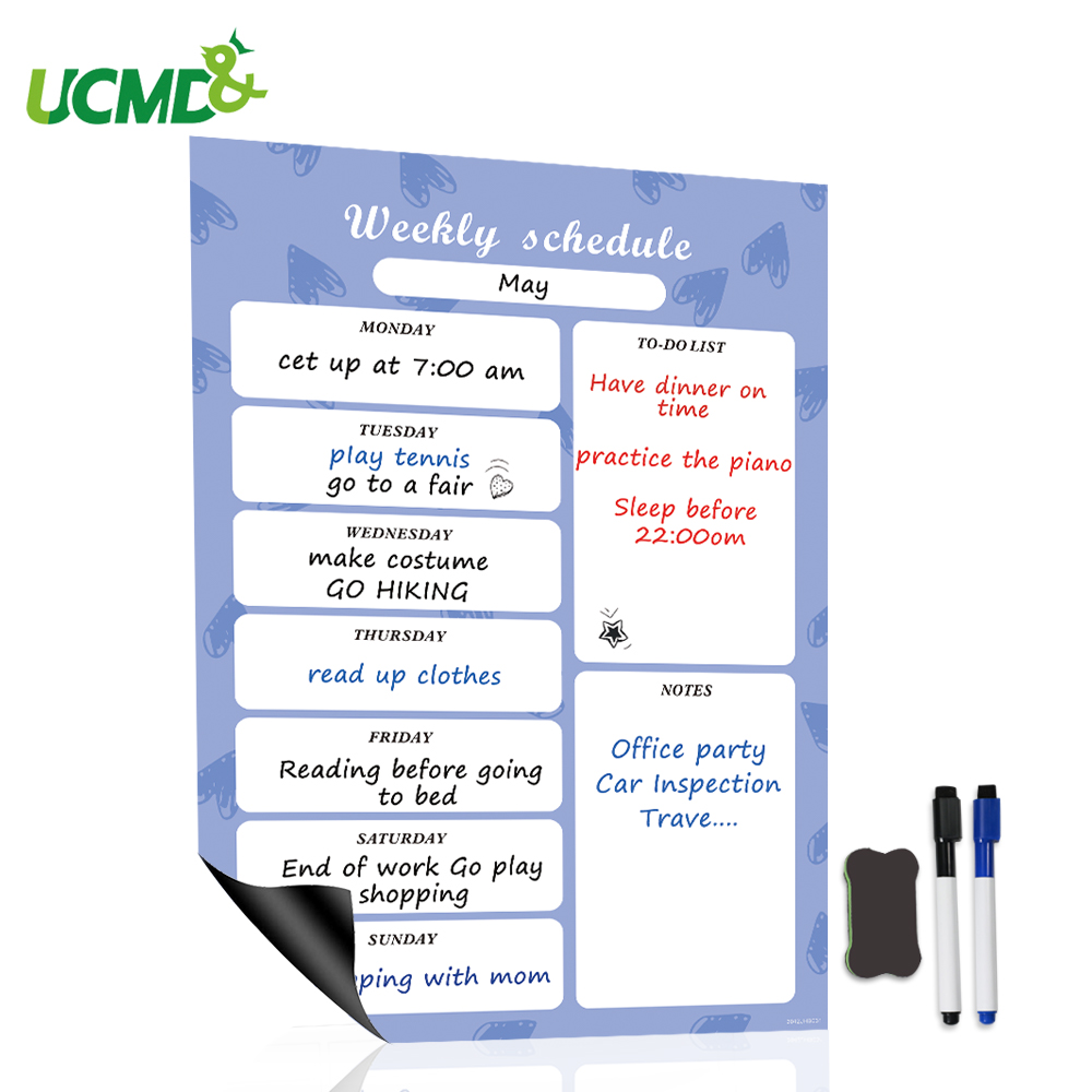 Weekly Planner Magnetic Whiteboard Calendar Fridge Magnets Family Meal Planner Message Reminder Memo Pad School Office Supplies