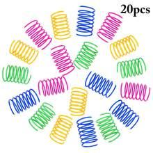 Brinquedos interativos duráveis largos da ação do animal de estimação das molas espirais plásticas coloridas da bobina do brinquedo da mola do gato de 20 pces