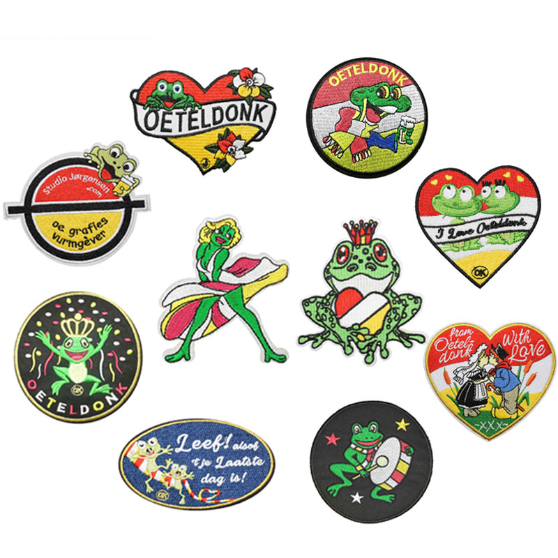 Oeteldonk Emblem Full Embroidered Frog Carnival for Netherland Iron on Patches for Clothing Embroidered Patches for Dress DIY G