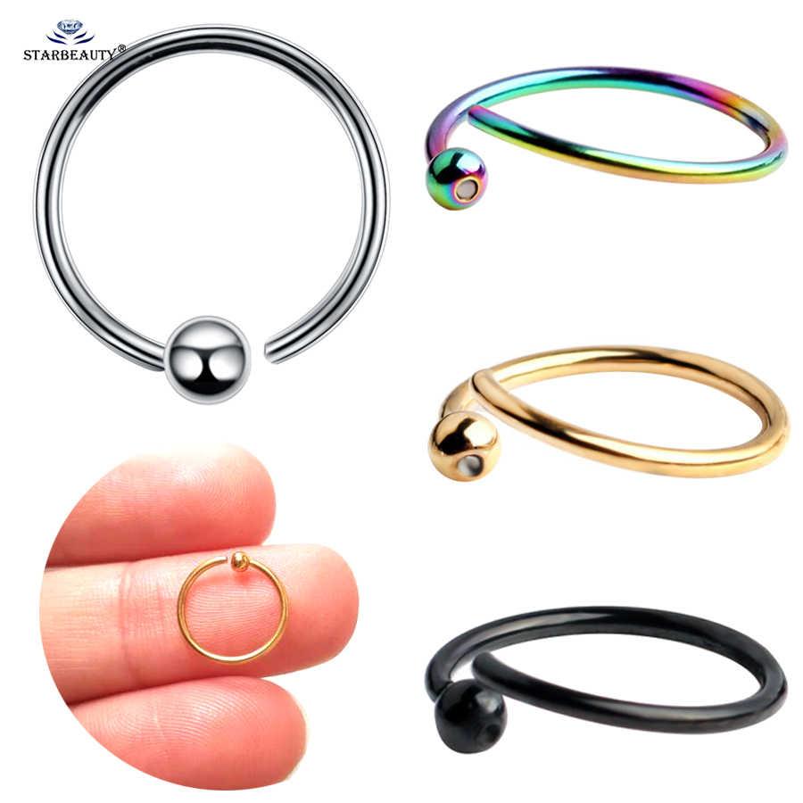 2 pcs 20G 6/8/10mm Fina BCR Piercing para Helix Tragus Labret Lip Nipple Jóias falso Anel de Nariz Septo Ear Piercing Genital Hoop