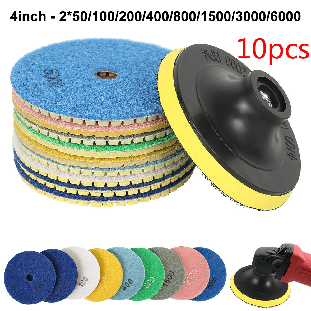 10Pcs 4Inc 100mm Diamond Polishing Pads Kit 50-6000 Grit Wet/Dry For Granite Stone Concrete Marble Polishing Grinding Discs Set