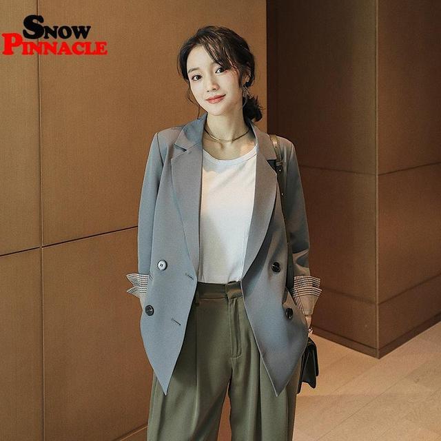 Women Blazer Autumn Casual double botton Women Blazer Pockets Jackets Female Retro Suits Coat Feminino blazers 2