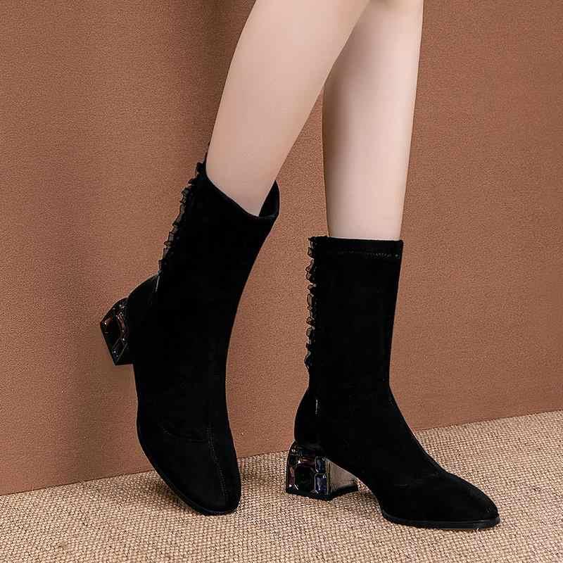 ALLBITEFO crystal hak comfortabele flock slip-on vrouwen laarzen mode merk stijl enkellaars pure kleur nieuwe lente Herfst laarzen