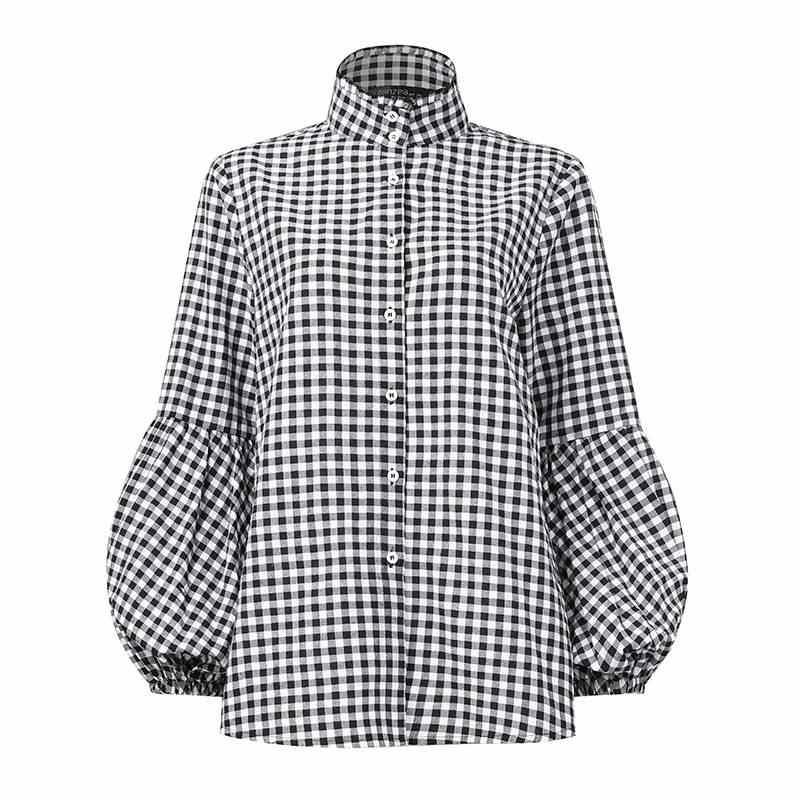 2020 ฤดูใบไม้ผลิเสื้อ ZANZEA แฟชั่นลายสก๊อตทำงานเสื้อพัฟแขนตรวจสอบ Chemise ผู้หญิงลำลอง Tops หญิง Blusas