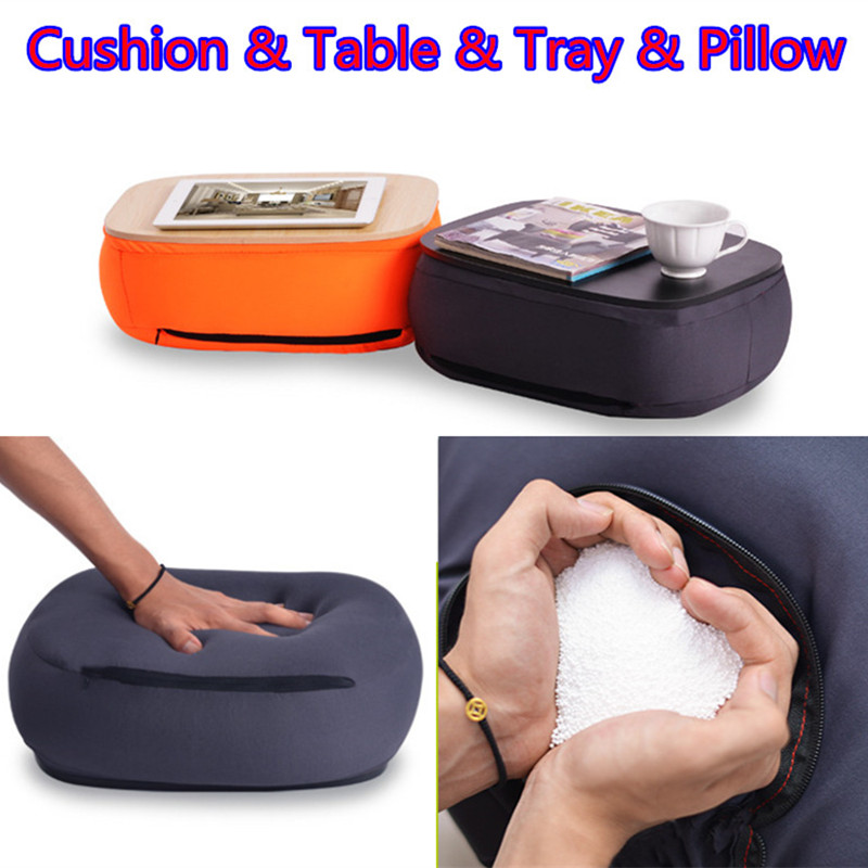 Multi Functional Portable Laptop Stand With Pillow Car Seat Lumbar Cushion Tea Cup Storage Tray Mini Table For Pad/Phone/Mac