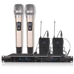 4-kanał bezprzewodowy system mikrofonowy 2 handheld 2 zestawy słuchawkowe dla występ na scenie  nauczania  prezentacji