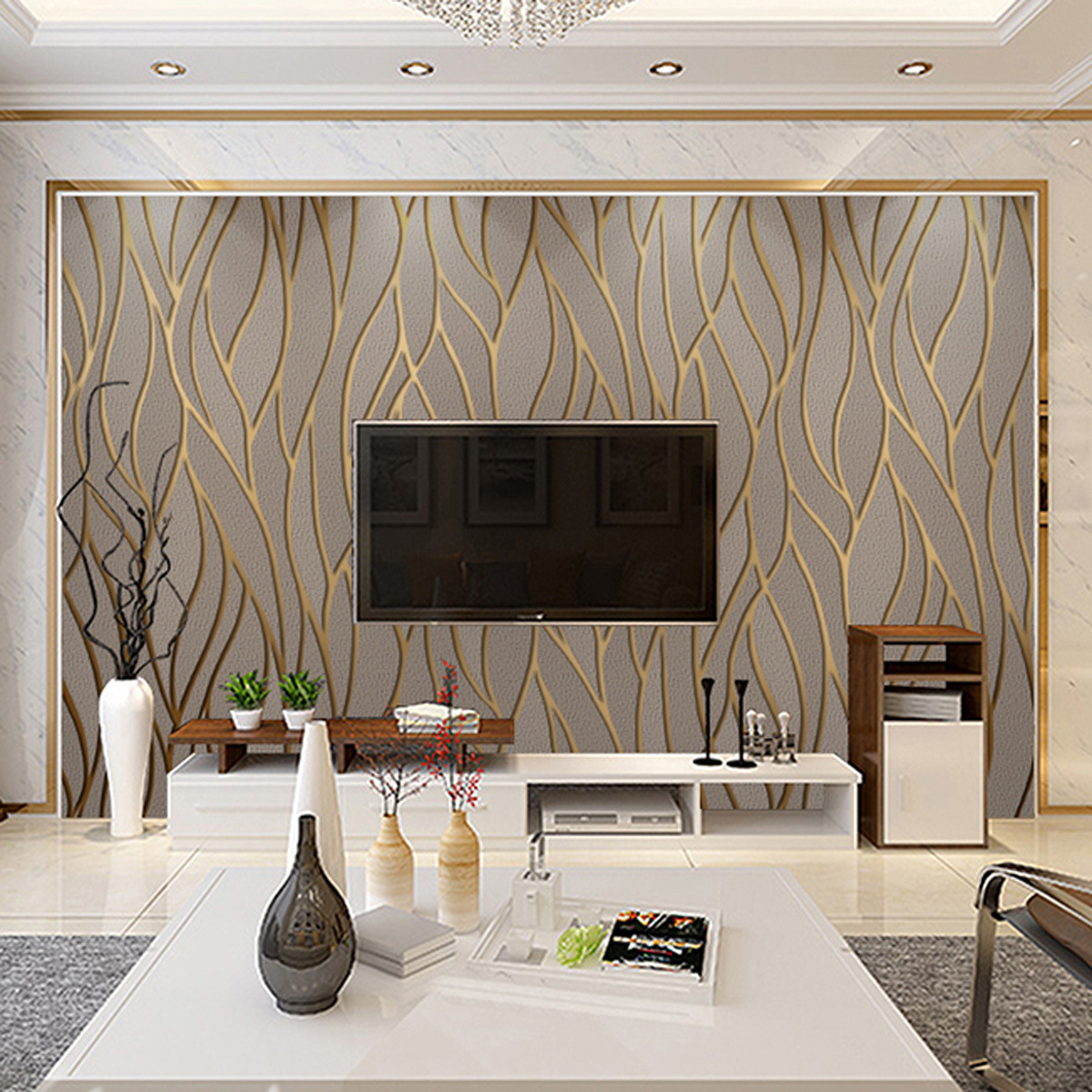 Modern Minimalist Curve Stripes TV Backdrop Suede Wallpaper Wave Nonwoven Fabric Living Room Bedroom Wallpaper