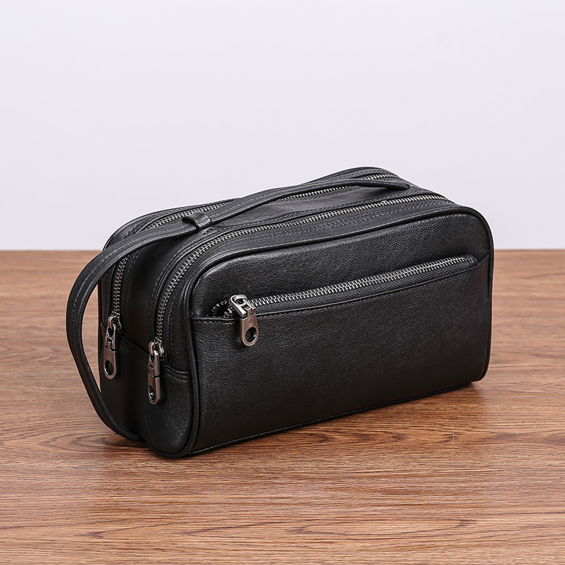 AETOO Male handbag leather Large capacity double zipper portable bag men's head cowhide casual day clutch leather men bag|  - title=