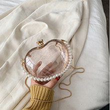 Girls Handbags Purses Heart-Clutch Transparent Gold-Chain Pearl-Design Women Ladies