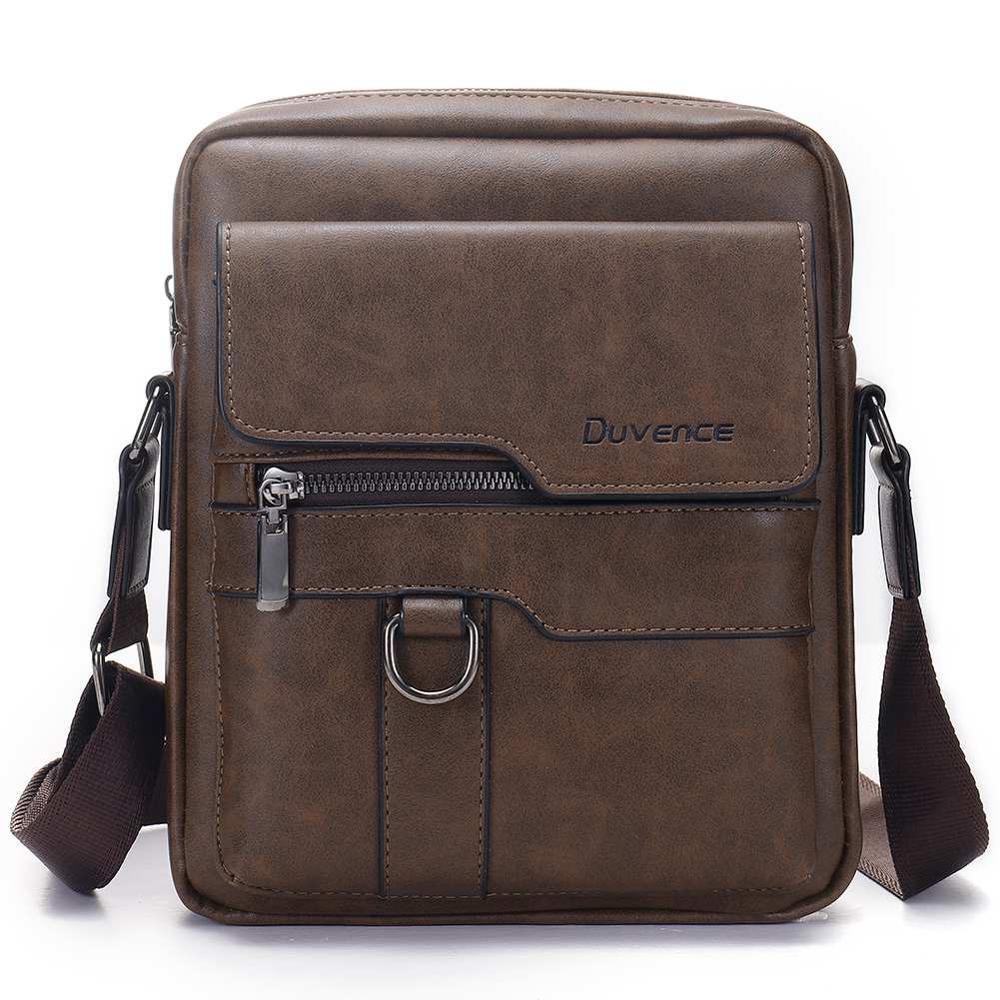 Fashion Men Shoulder Bag for 10.5″ ipad Men PU Leather Flaps Men's Crossbody Bags Business Brown Flap Male Solid Messenger Bag