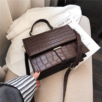 Burminsa Korean Style Small Women Shoulder Messenger Bags Crocodile Print Female Briefcase Flap Tote Bags For Women Winter 2019