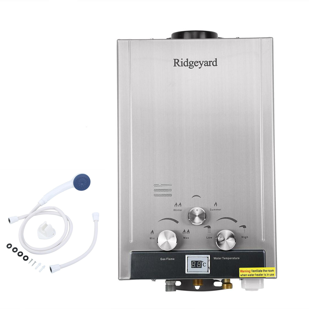 (Ship From USA) 8L 2GPM Natural Gas Tankless Water Heater Stainless Instant Endless Energy-Saving Boiler With Shower Head
