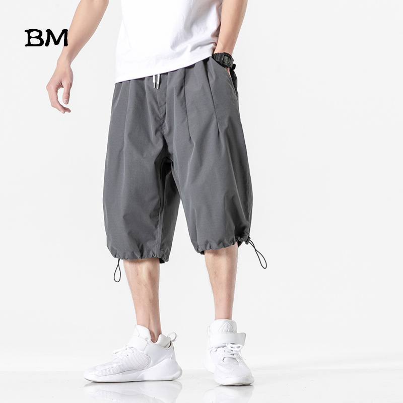 Summer Solid Color Shorts Men Plus Size Casual Pants Closing Thin Sports Shorts Hip Hop Cropped Trousers 2020 Fashion Mens