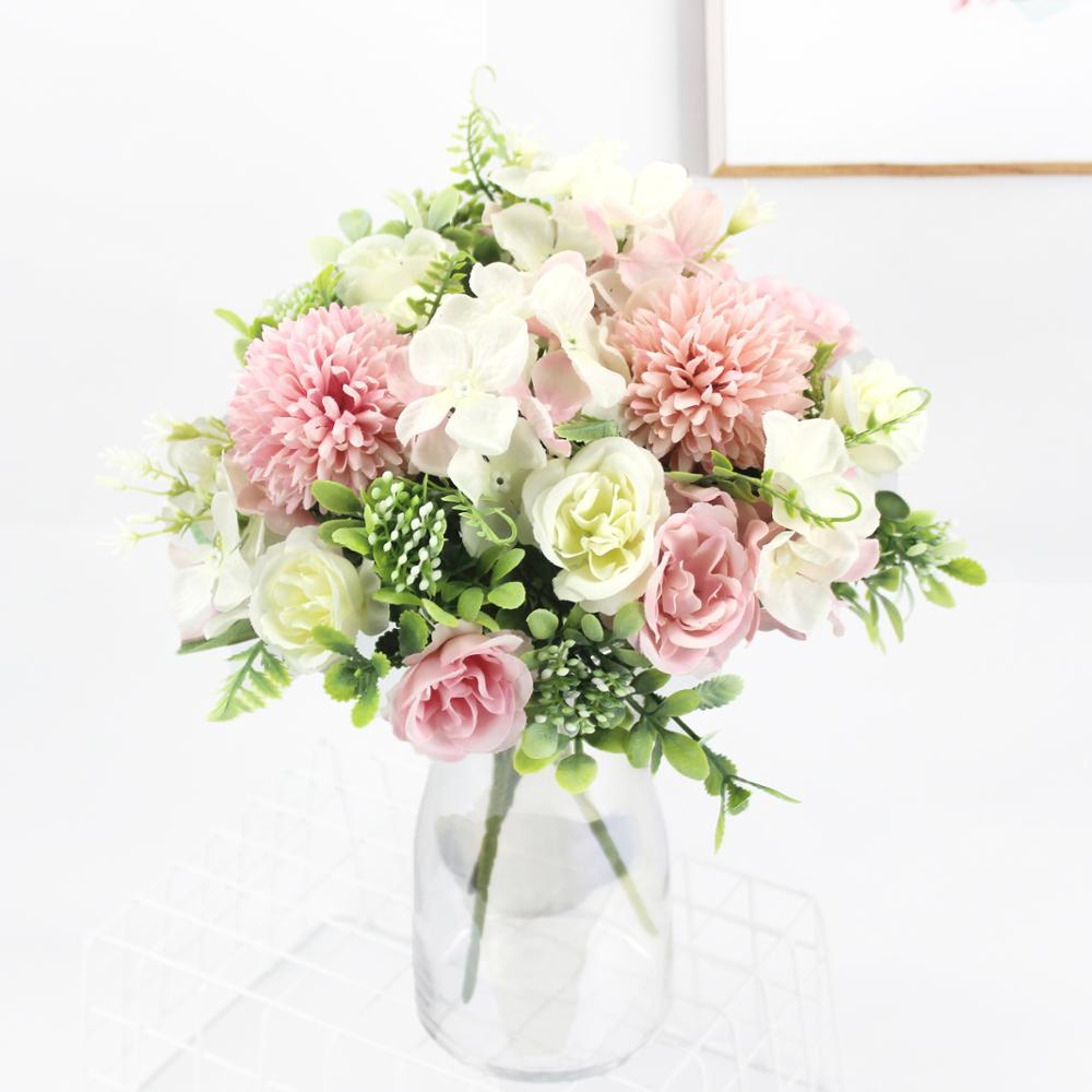 Розовые шелковые гортензии, искусственные цветы, свадебные цветы для невесты, шелковые цветущие пионы, искусственные цветы, белое украшени...