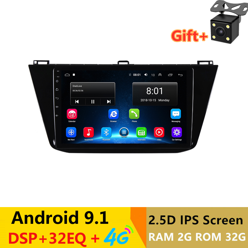 9 2.5D IPS Android 9.1 Car DVD Multimedia Player GPS For Volkswagen VW Tiguan 2017 2018 audio radio DSP 32EQ stereo navigation image