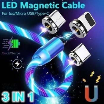 3 in 1 USB Cable New 360°  LED Flowing Magnetic Charger Phone Charging