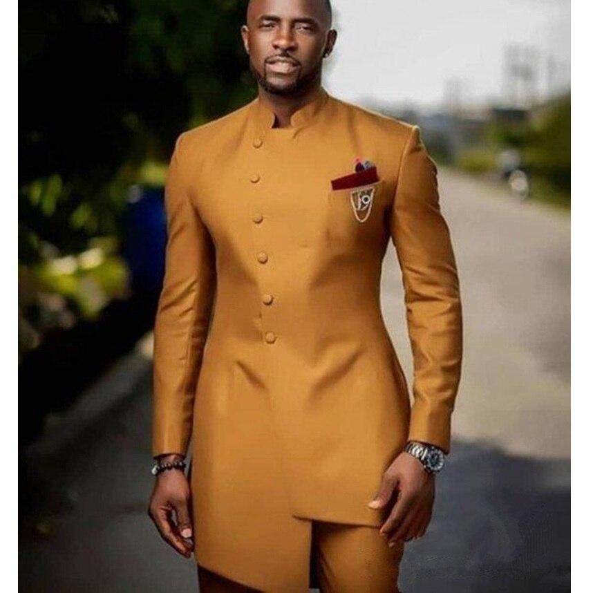 Golden Slim Fit Men Suits Wedding Groom Tuxedos 2pcs(Jacket+Pants) Bridegroom Suits Front Button Design Best Man Prom Blazer