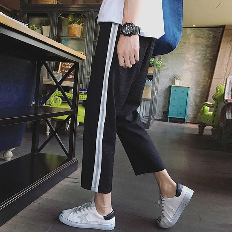 Capri Pants Men's Korean-style Trend Stripes Casual Pants Men'S Wear Loose Straight Harem Pants Men's Summer 9 Pants Thin