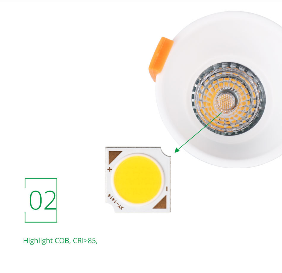 12W 85-265V AC Ceiling Light White Aluminnum Indoor Lighting Led downlight Dimmable COB Spot Lamp Knob Switch Foyer Spotlights (12)
