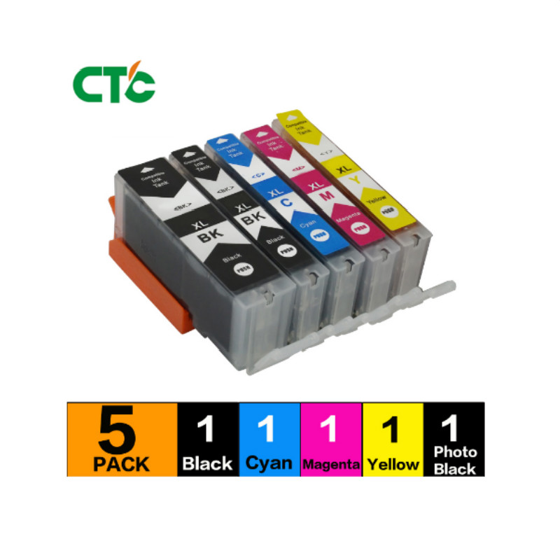 5PCS 570 571 PGI-570 CLI-571 compatible ink cartridge For canon PIXMA MG5750 MG5751 MG5752 MG6851 MG6852 TS6050 <font><b>TS5050</b></font> 5051 image