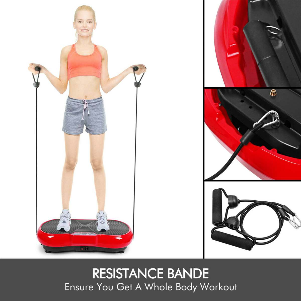 250KG Exercise Fitness Slim Vibration Machine Include Remote Watch bluetooth~Trainer Plate Platform Body Shaper +Resistance Band Pakistan