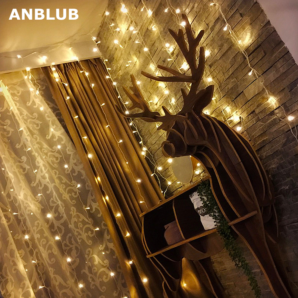 ANBLUB New Year 8 Modes LED Window Curtain String Lights 96/300leds For Outdoor Christmas Party Wedding Flash Garland Decoration