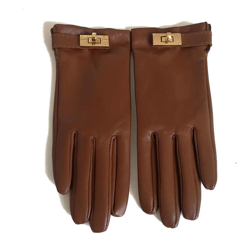 Black Mesh and Lambskin Elegant Women Gloves with Thin Leather Starp Genuine Leather Women Gloves