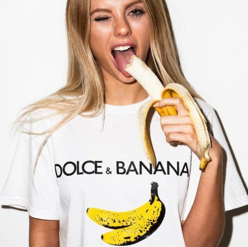 Camiseta con estampado de Dolce & plátano impreso para mujer, remera Harajuku Ulzzang Tumblr, Camisetas estampadas de estilo frutal