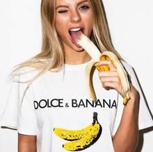T-shirt drôle à manches courtes pour femmes, imprimé Dolce & banana, Harajuku Ulzzang Tumblr, mode Style Fruit mignon Tops graphique