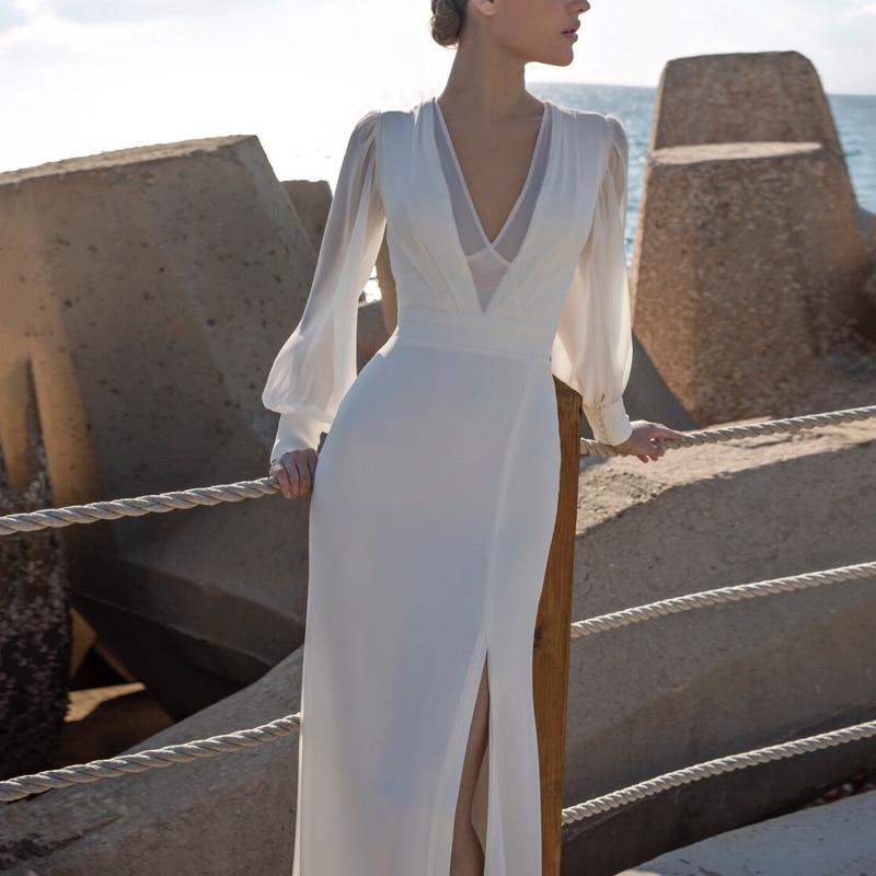 Длинные рукава зимние вечерние платья бодикон белые женские платья с открытой спиной Pacakge бедра платье русалка подол Сплит v образным вырез... - 3