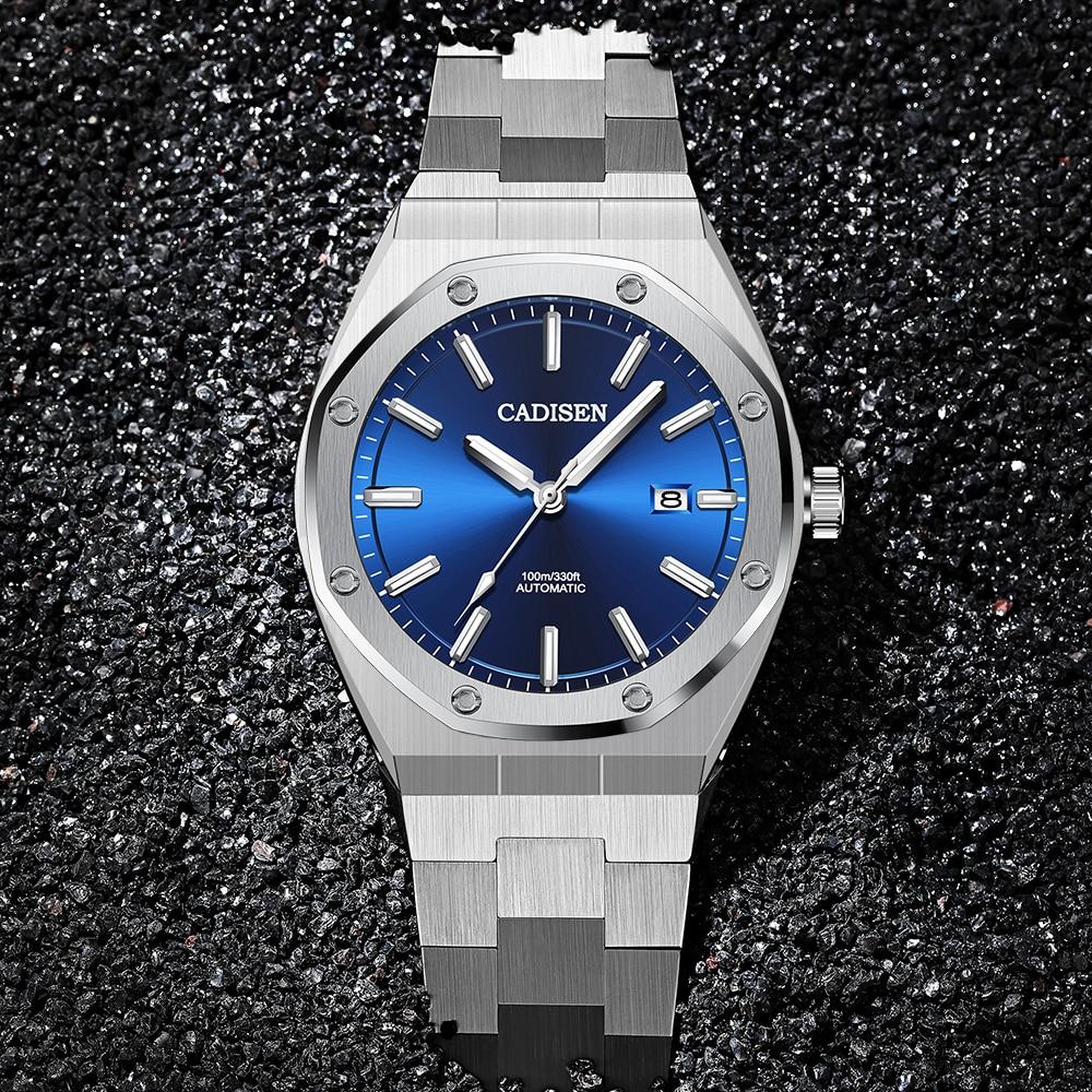 CADISEN Design Brand Luxury Men Watches Mechanical Automatic Blue Watch Men 100M Waterproof Casual Business luminous Wristwatch 1