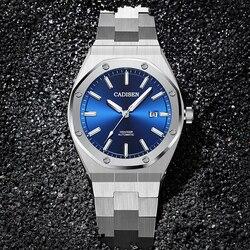 Бренд CADISEN, Роскошные мужские часы, механические Автоматические синие часы, мужские водонепроницаемые часы 100 м, повседневные деловые светя...
