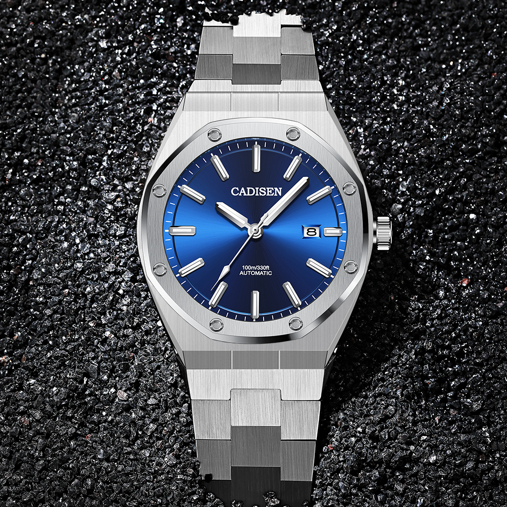 CADISEN Design Brand Luxury Men Watches Mechanical Automatic Blue Watch Men 100M Waterproof Casual Business Luminous Wristwatch