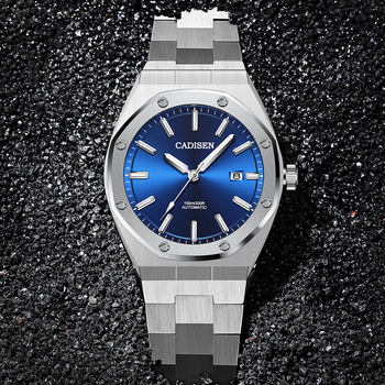 CADISEN Design Brand Luxury Men Watches Mechanical Automatic Blue Watch Men 100M Waterproof Casual Business Luminous Wristwatch