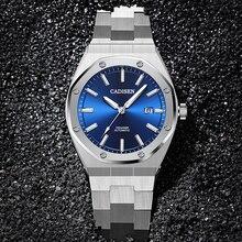 Бренд CADISEN, Роскошные мужские часы, механические Автоматические синие часы, мужские водонепроницаемые часы 100 м, повседневные деловые светящиеся наручные часы